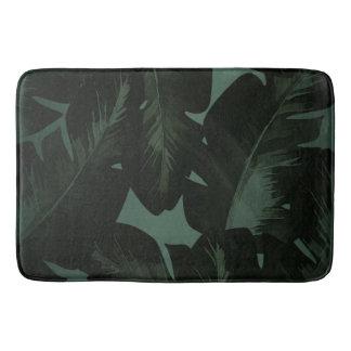 Dark Green & Black Tropical Palm Leaves Tropics Bath Mat
