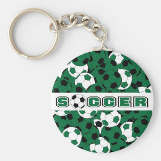 Dark Green, Black & White Soccer Ball Sport Basic Round Button Key Ring