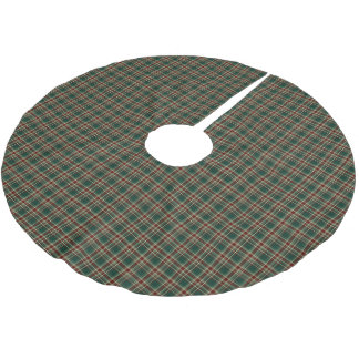 Dark Green Christmas Plaid Pattern Brushed Polyester Tree Skirt