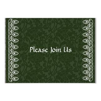 "Dark Green Damask Invitation 5"" X 7"" Invitation Card"