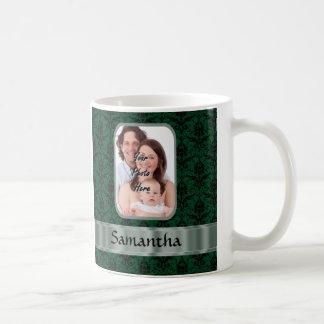 Dark green damask photo template basic white mug