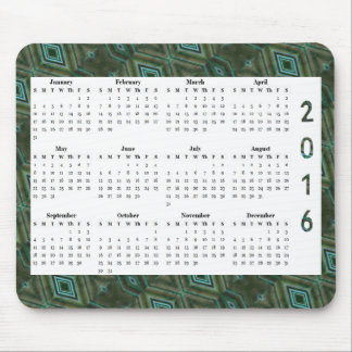 Dark Green Diamond Pattern 2016 Yearly Calendar Mouse Pad