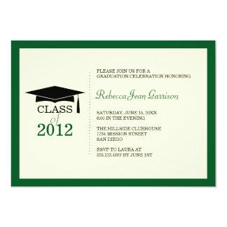 "Dark green ecru cap tassel graduation announcement 5"" x 7"" invitation card"