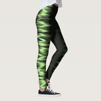 Dark green electric lightning effect leggings