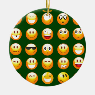dark green emoji ceramic ornament