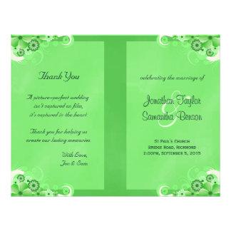 Dark Green Floral Bi Fold Wedding Program 21.5 Cm X 28 Cm Flyer