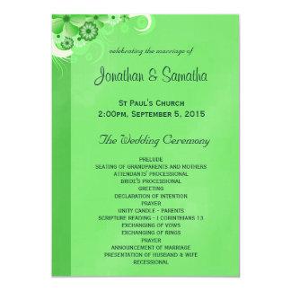 Dark Green Floral Flat Wedding Program Templates 13 Cm X 18 Cm Invitation Card