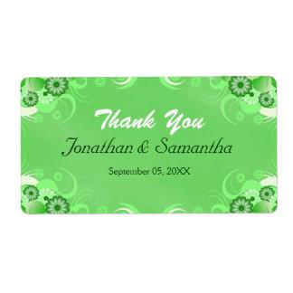Dark Green Floral Large Wedding Favor Labels