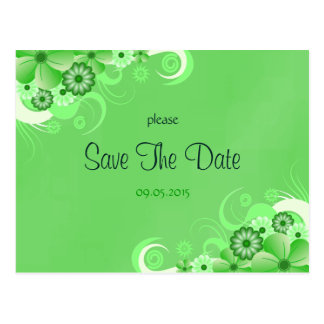 Dark Green Floral Save The Date Announcement Cards Postcard