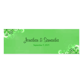 Dark Green Floral Small Wedding Favor Favour Tags Pack Of Skinny Business Cards