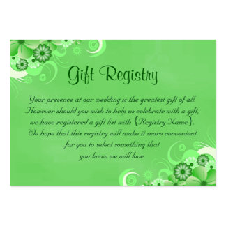 Dark Green Floral Small Wedding Gift Registry Card Pack Of Chubby Business Cards