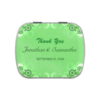 Dark Green Floral Square Wedding Favor Candy Tins