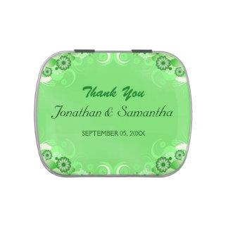 Dark Green Floral Square Wedding Favor Candy Tins