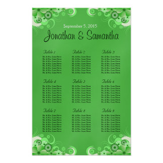 Dark Green Floral Wedding Table Seating Charts Poster