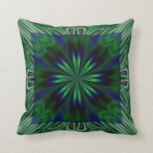Dark Green Flower American MoJo Pillows