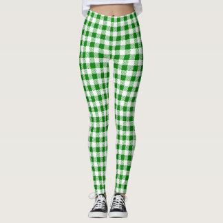 Dark Green Gingham Leggings