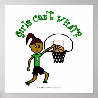 Dark Green Girls Basketball Poster