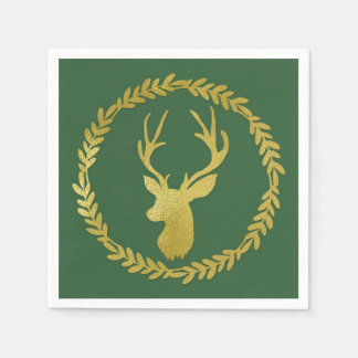 Dark Green Gold Deer Wreath Christmas Napkin Disposable Serviettes
