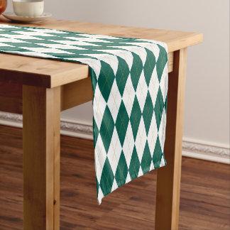 Dark Green | Gold | White Diamond Argyle Pattern Short Table Runner