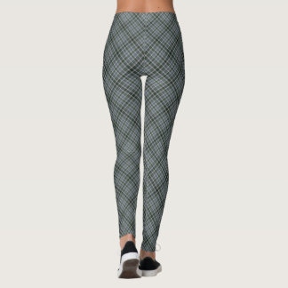 Dark Green & Gray Small Tartan Plaid Diagonal Leggings