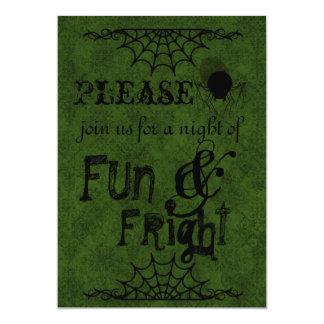 Dark Green Halloween Invitations