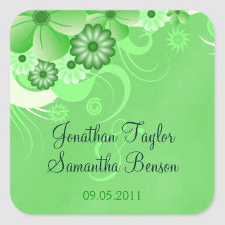 Dark Green Hibiscus Floral Save The Date Favour Square Sticker