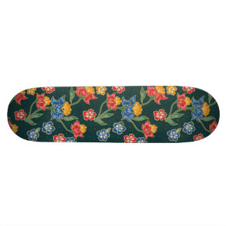 Dark green Indonesian floral vines Batik pattern 21.3 Cm Mini Skateboard Deck