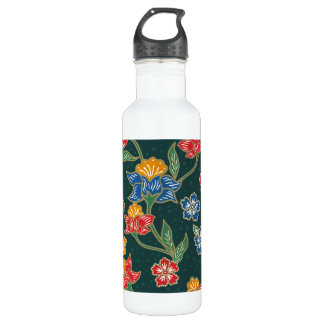 Dark green Indonesian floral vines Batik pattern 710 Ml Water Bottle