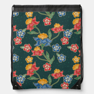 Dark green Indonesian floral vines Batik pattern Drawstring Bag