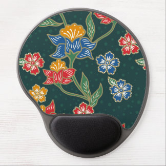 Dark green Indonesian floral vines Batik pattern Gel Mouse Pad