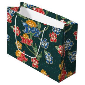 Dark green Indonesian floral vines Batik pattern Large Gift Bag