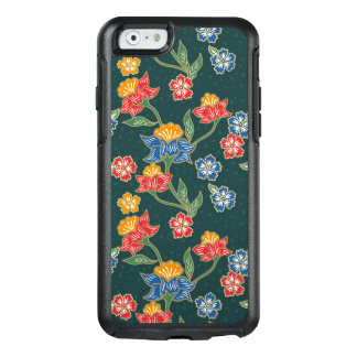 Dark green Indonesian floral vines Batik pattern OtterBox iPhone 6/6s Case