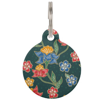 Dark green Indonesian floral vines Batik pattern Pet ID Tag