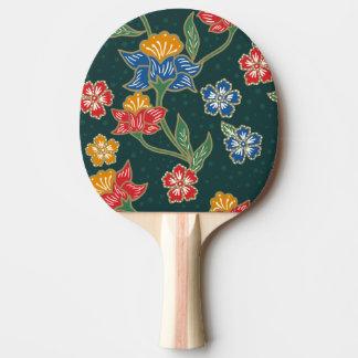Dark green Indonesian floral vines Batik pattern Ping Pong Paddle