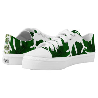 Dark Green Leaves Tropical Palm Sparkle Chic Low Tops