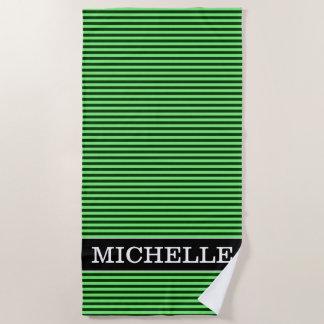 Dark Green & Light Green Stripes/Lines Pattern Beach Towel
