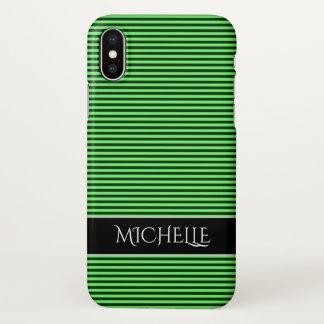 Dark Green & Light Green Stripes/Lines Pattern iPhone X Case