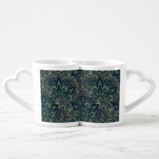 Dark green mandala pattern. coffee mug set