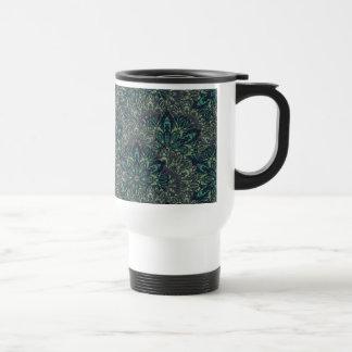 Dark green mandala pattern. travel mug