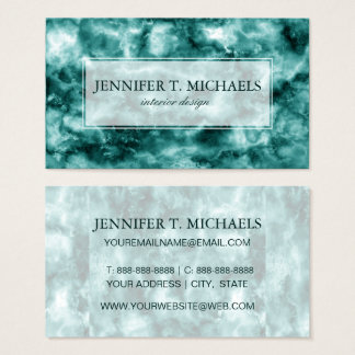 Dark Green Marble Texture Business Card