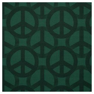 Dark Green Peace Sign Fabric