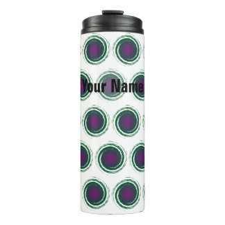 Dark Green Purple Swirling Circles with Your Name Thermal Tumbler