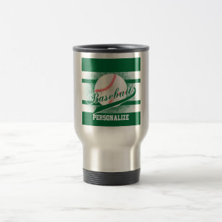 Dark Green Retro Baseball Style Travel Mug