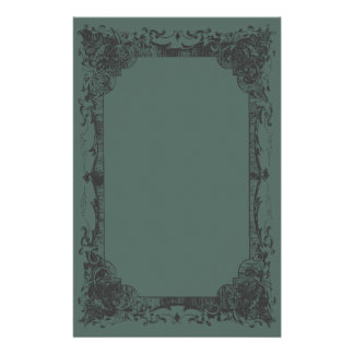 Dark Green Romantic French Flourish Stationery