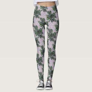 Dark Green Shamrock Rose Patterned Leggings
