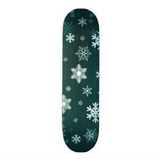 Dark Green Snowflakes Skate Board