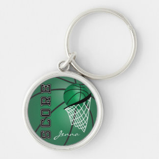 Dark Green Sport Basketball | DIY Text Silver-Colored Round Key Ring