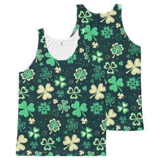Dark green St Patrick lucky shamrock pattern All-Over Print Singlet