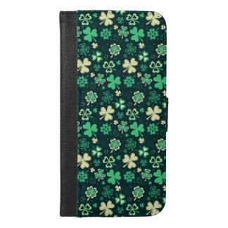 Dark green St Patrick lucky shamrock pattern iPhone 6/6s Plus Wallet Case