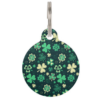 Dark green St Patrick lucky shamrock pattern Pet ID Tag